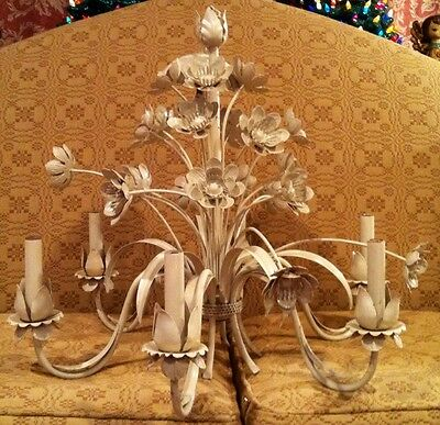Large Antique White Painted Metal Tole Chandelier 6 Arm 21 Flowers