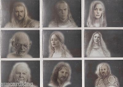 Lord of The Rings (LOTR) - Masterpieces II - Silver Foil Chase Card Set (9) - NM