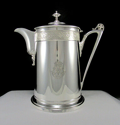 Antique Lrg Reed & Barton 1867 Silver Plate Insulated Hot Cold Ice Water Pitcher