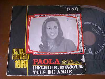 Eurovision , Paola - Bonjuour Bonjour , Portugal 7'' Sung In Spanish