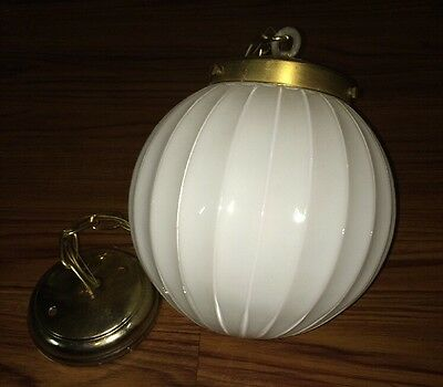 Antique Vintage old hanging ceiling light lamp fixture Globe Ridged glass shade