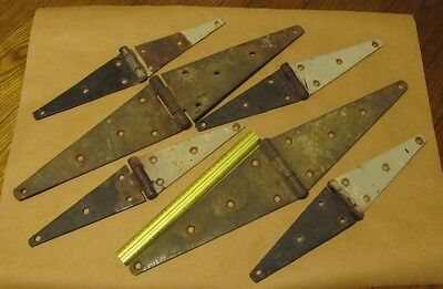 Vintage Antique Rusty Strap Hinges Rustic Barn Door 12 And 8 Inch. Large Huge