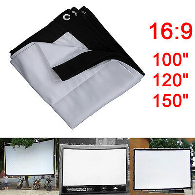 16:9 Outdoor Home KTV Projector Screen HD Movie Cinema Theater 100/120/150 inch