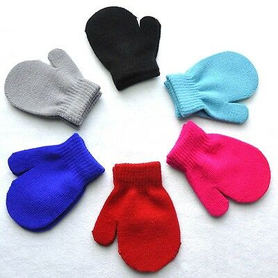 Baby Kids Boys Girls Autumn Winter Warm Gloves Toddler Soft Knitting Mittens New