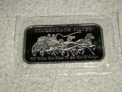 1 Troy Oz .999 Pure Fine Solid Silver Stagecoach Sealed Mint Bar ~Bullion