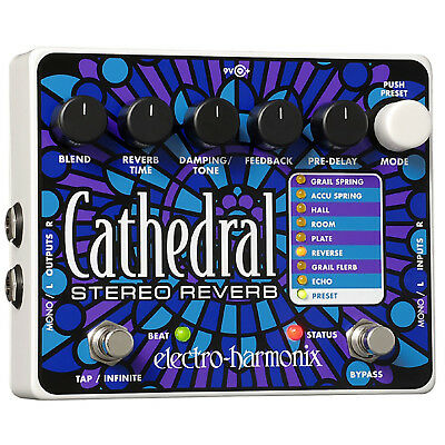 New Electro-Harmonix CATHEDRAL Deluxe Programmable Stereo Reverb Effects Pedal