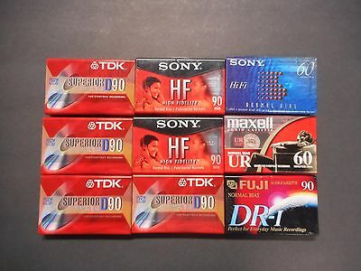 (9) TDK-Sony-Fuji Normal Bias Cassette Tapes. 60 and 90 Minutes. New Condition.