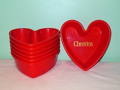 7 General Mills Red Plastic Heart Cheerios Bowls