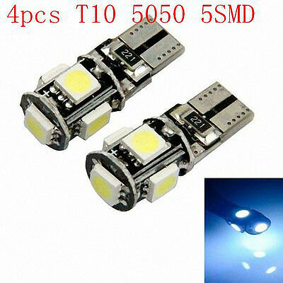 4 Pcs T10 5LED 5050 SMD Super Bright White Lights Canbus Car Wedge Lamp Bulbs