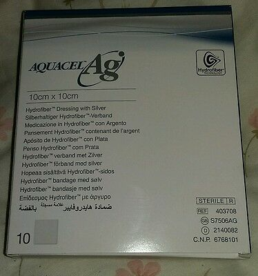 AQUACEL Ag. Ten sheets. hydrofiber dressings. 10cm x 10cm