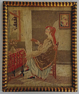 Antique 19thc. Framed Needlepoint Sampler of Seated Woman w/ Embellished Earring