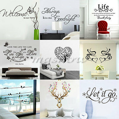 Removable Family DIY Vinyl Quote Wall Stickers Words Decal Mural Home Room Baby