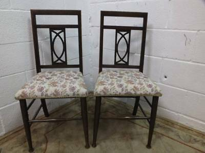 2 x EDWARDIAN MAHOGANY BEDROOM /HALL CHAIRS With An INLAID DESIGN