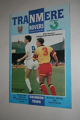 Tranmere Rovers V Swindon Town Play Off S/final Programme 1993