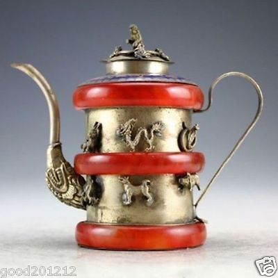 Chinese Handwork Silver Jade Carved 12 Zodiac Teapot Lid w Monkey decorations