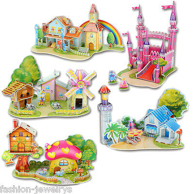 New Children Educational Toys 3D Model Puzzle Jigsaw Castle House Kids DIY Gift