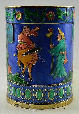 Collectible Decorated Old Handwork Cloisonne Carved Child Cattle Brush Pot