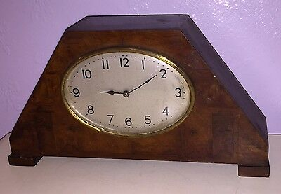 Antique wooden  clock oval bezel veneer  vintage for spares repairs Romford