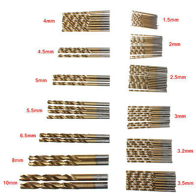 NEW 99pcs Titanium Coated HSS High Speed Steel Drill Bit Set Tool 1.5mm - 10mm