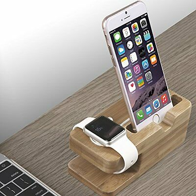 iWatch Dock with Dual Charging Stand+Holder for iWatch Bamboo Wood BEST SELLER
