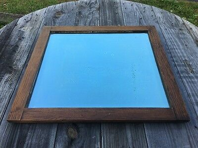 Vtg Oak ? American Chestnut ? Wood Plate Glass Beveled Mirror Antique Heavy 21""