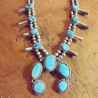 Vintage Old Pawn Turquoise Sterling Silver Native Squash Blossom Necklace