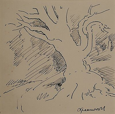 Orlando Greenwood (1892-1989) Signed Pen and Ink Drawing, Study of a Tree