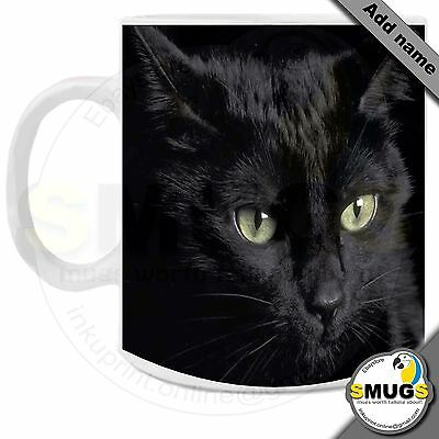 Black Cat Personalised Mug-Gift-Present-Occasions. Top Quality.
