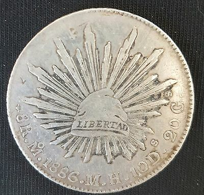 1886 Mexico Crown Size Silver Coin 8 Reales MO MH 90% Silver.....