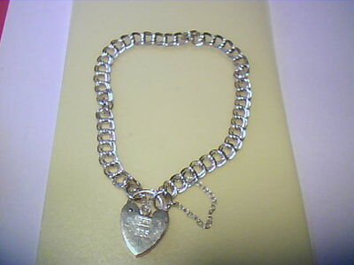 Sterling Silver Double Link Charm Bracelet With Heart Clasp