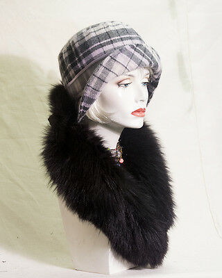 VINTAGE INSPIRED FLEECE CHEQUERED 1920s STYLE CLOCHE HAT  GATSBY