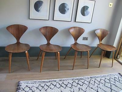 Classic Norman Cherner Mid Century Walnut PlyCraft Side Chairs (set of 4)