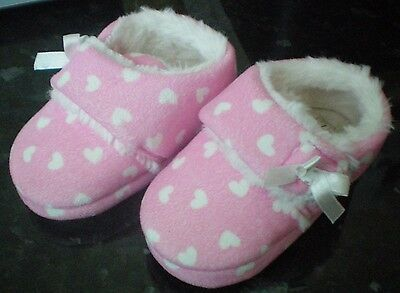 Kids Pink Velcro-fastening Fur Lined Slippers Size 7 (24)