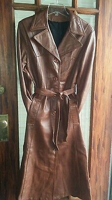 Vintage brown leather trench coat
