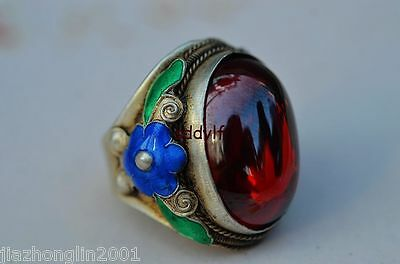 Old Collectibles Decorate Handwork Tibet Silver Cloisonne Inlay Red Zircon Ring