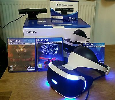 Sony Playstation VR headset bundle with PS4 camera + 2 games battlezone PSVR PS