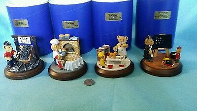 fun bear collection, pewter hand painted paper weight, job lot , 4 in total