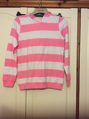 Brand New Girls pink and white hoodie age 13/14