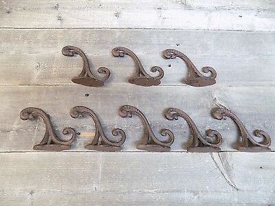 8 Cast Iron Rustic School Style Coat Hooks Hat Hook Rack Hall Tree Restoration