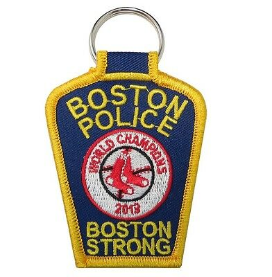 """Boston Strong Boston Police Red Sox World Series 2013 Patch Key Chain 3"""" x 2 3/8"""