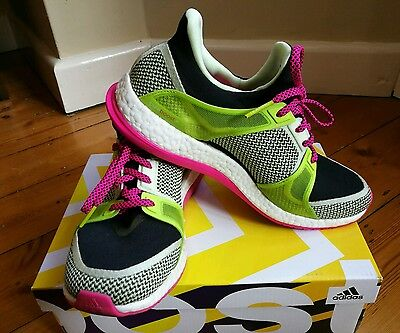 Adidas Pure Boost X lightweight trainers running shoes green and pink  UK 7.5