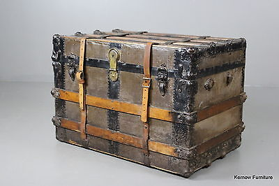 Large Antique Wooden Bound Cabin Steamer Travel Trunk Coffee Table