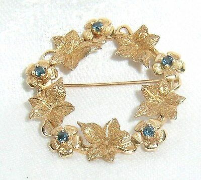 Vtg 14K Solid Yellow Gold Floral W Leaves Brooch Pin 5.7 Grams Blue Gemstones