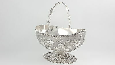 ANTIQUE CHINESE EXPORT SILVER SWING HANDLED SUGAR BASKET - C1900 C.J. & Co