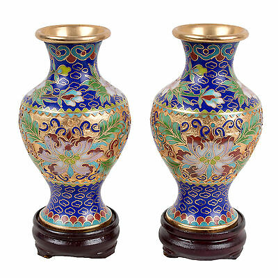 China 20 Jh. Vasen -A Pair of Chinese Champleve & Cloisonne Vases Chinois Cinese