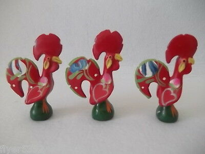 Portugal ☆ Vintage Kitchen Lucky Roaster Lot ☆ Hand Made Painted ☆ Galo Barcelos