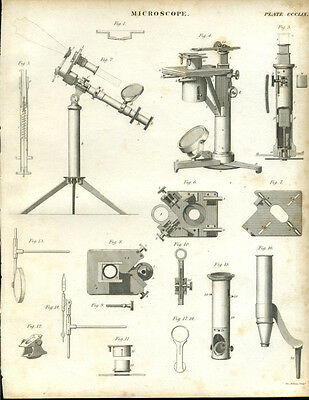 Antique print of a MICROSCOPE (2) - copper plate engraving - 1842