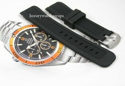 Superb Black Rubber Silicone Watch Strap For Omega Seamaster Planet Ocean 22Mm
