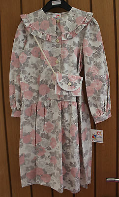 VINTAGE 90s CHEERLEADERS GIRLS COTTON FLORAL DRESS WITH PURSE AGE 7-8 YEARS BNWT