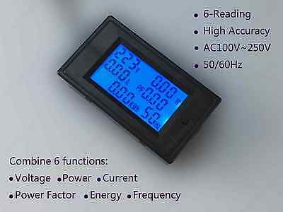 AC 6in1 Combo Meter Voltage 110V 220V Current 100A Power Factor KWH Frequency HZ